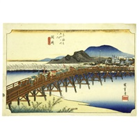 "fifty-three stations of the tōkaidō ""okazaki by ando hiroshige"