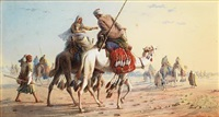 bedouin caravan in the desert by joseph austin benwell
