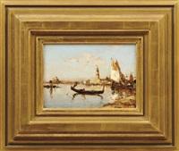 Gondel und Fischerboote in der Lagune von Venedig