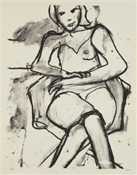 seated woman with crossed hands by richard diebenkorn