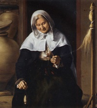 an old woman carding wool by louis le nain