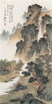 春山茅舍 (pavilion in the spring) by ning dizhong