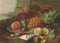 a pineapple, grapes, a peach with other fruit on a ledge, a landscape beyond by john wainwright