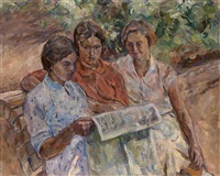 reading the newspapers by aristarkh vasilevich lentulov