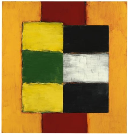 green yellow figure by sean scully
