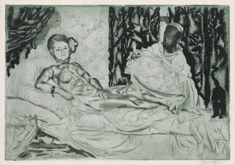 olympia etched by jacques villon by édouard manet