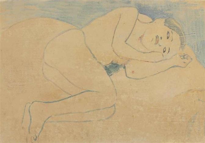jeune bretonne nu couché sur divan by paul gauguin