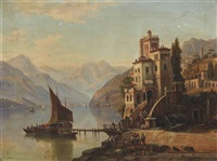 loading barges at a villa, lake como by henry jackel