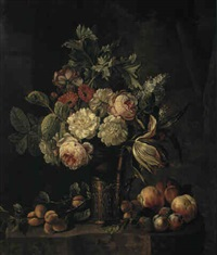 still life of roses, a tulip, marigolds and lilac in a gilt beaker with peaches, plums and apricots on a marble ledge by johannes hendrik fredriks