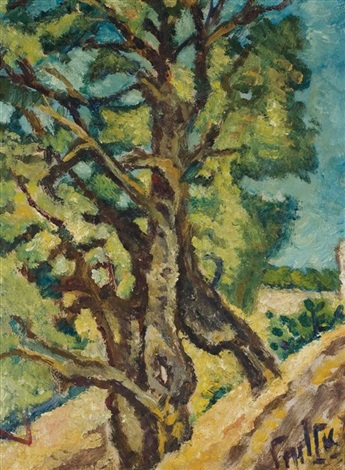 landscape with trees by arieh allweil