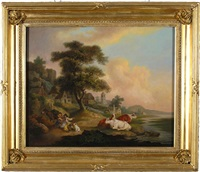 figures, cattle and donkeys in pastoral scenes (pair) by julius caesar ibbetson