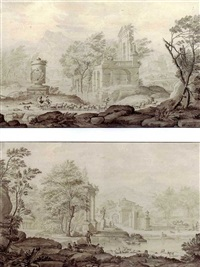 pastoral landscapes, with herders by riverside ruins (+ another similar; pair) by nicolaas aartman