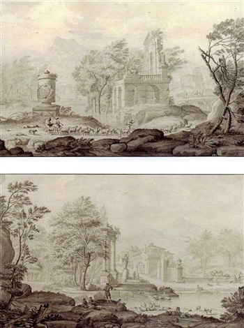 pastoral landscapes with herders by riverside ruins another similar pair by nicolaas aartman