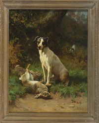 untitled, terrier with dead hares by alfred duke