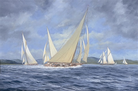 candida reaching to windward having rounded the turning mark by john j holmes