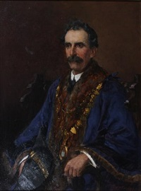 portrait of william sparrow harrison, mayor of st. ives, cornwall, wearing mayoral robes by william banks fortescue