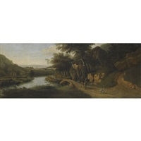 a bosky river landscape with a drover on a donkey along a path, cattle watering to the left by jan siberechts