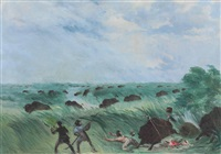 batiste is run over, and loses his bouillon, in the nishnabottana meadows by george catlin