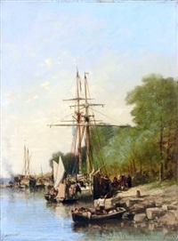 bateaux de pêche et voiliers - le débarquement by jules achille noel