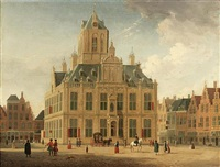 delft: a view of the town hall seen from the grote markt by jan ten compe