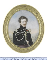 portrait miniatures of a russian officer and his wife, both standing in landscapes: the former, wearing dark green jacket with red piping (pair) by alphonse de labroue