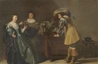 interieur mit tricktrack-spielern und weintrinkender dame by dirck hals