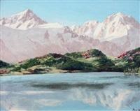 lac des posettes chardonnet et aiguille verte by jacques charles fourcy