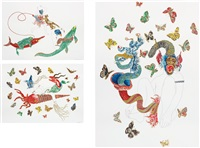triptych: untitled (squid, monkey, fish) by raqib shaw