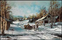 winter scene with horse and sleigh by claude langevin