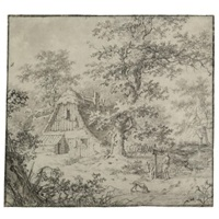 a thatched woodland cottage with a man and his dog in the foreground (+ sketches; verso) by pietersz (pieter) barbiers