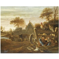 a farmyard scene with a peasant resting with a dog in the foreground by dirck wyntrack
