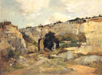 ancient stone quarry with tunnel, stone bridges beyond by rené billotte