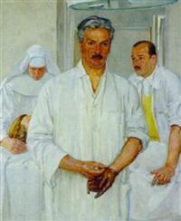 prof. burkhard breitner, chef der chirurgie in innsbruck, mit seinem assistenten dr. hohe by albert janesch