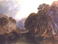 figure walking by a river with mountains beyond by h. smyth