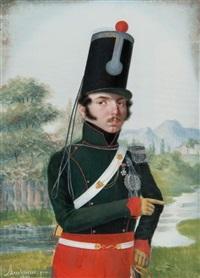 portrait d'un officier en habit by pierre-elie audouin