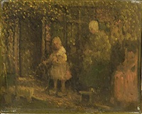 a mother with her daughter playing in the garden (+ another; 2 works) by henri van daalhoff