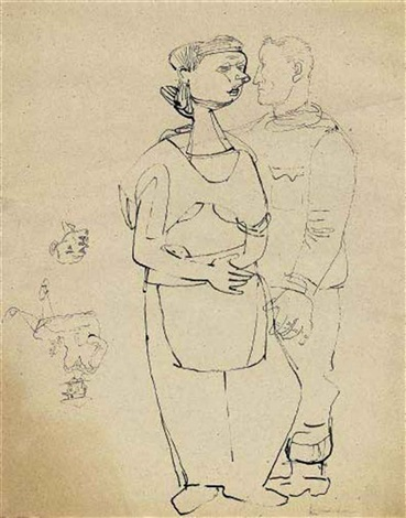 couple and self portrait in uniform study by ludwig meidner and jankel adler