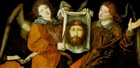the sudarium of saint veronica supported by angels by christoph amberger