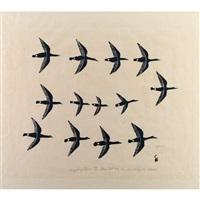 flight of geese by luke iksiktaaryuk