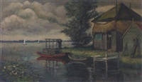 by the boat hut by hendrik van kempen