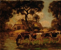 three cows by a farm by fedor van kregten