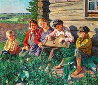 summer day with a boy playing citar for the girls outside a barn by nikolai petrovich bogdanov-bel'sky