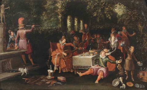 an allegory of the five senses an elegant company making merry in a garden by david vinckboons