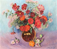 still life of flowers in a glass vase by eugene andrew agafonoff