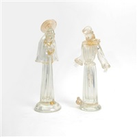 rare and early pair of religious themed figurines by avem (arte vetraria muranese)