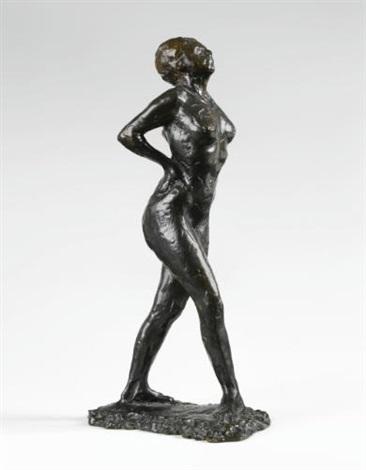 danseuse au repos, les mains sur les reins, la jambe droite en avant by edgar degas