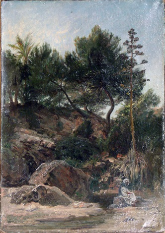 arabe se reposant au pied de la source by henri arthur bonnefoy