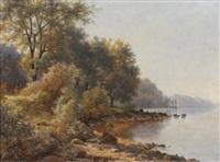 promeneurs au bord du lac de thune by victor favier