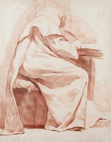 Pleasing A Monk Seated At A Table Writing By Charles Francois Hutin Interior Design Ideas Ghosoteloinfo
