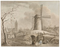 winter scene, with skaters by a windmill near noordwijk by pieter barbiers bartholomeusz